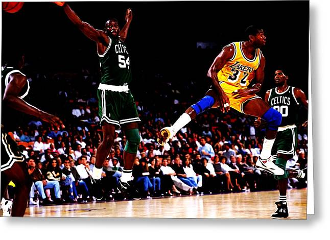 Magic Johnson No Look Pass 7a Greeting Card