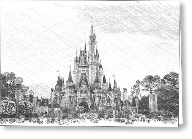 Magic Kingdom Castle In Black And White Pa 01 Greeting Card