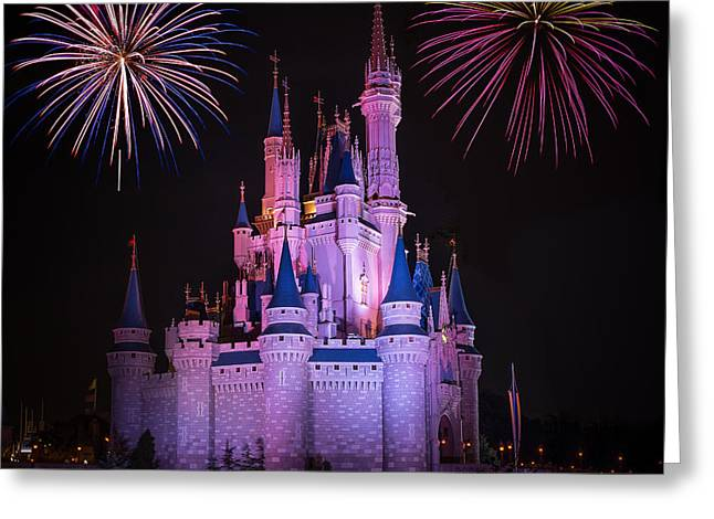 Magic Kingdom Castle Under Fireworks Square Greeting Card