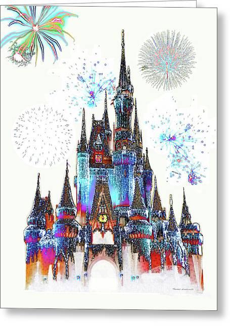 Magic Kingdom Castle With Fireworks 02 Greeting Card