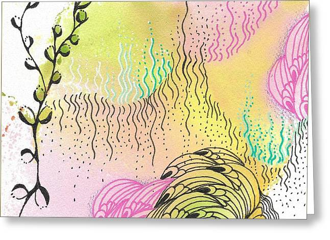 Greeting Card featuring the drawing Magic Mist by Jan Steinle