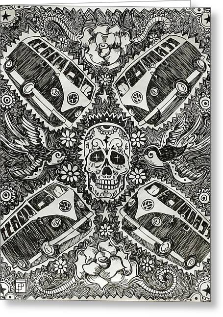 Magic Muerto Bus Greeting Card