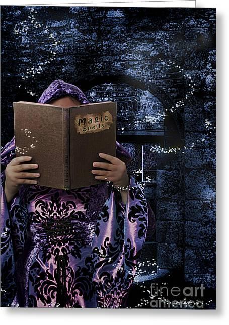 Magic Spells Book Greeting Card by Amanda Elwell
