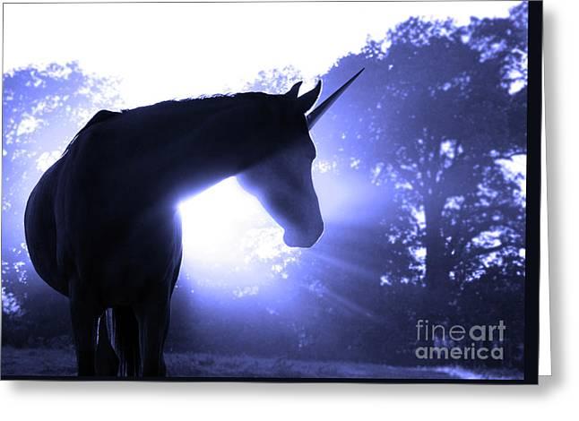 Magic Unicorn In Blue Greeting Card by Sari ONeal