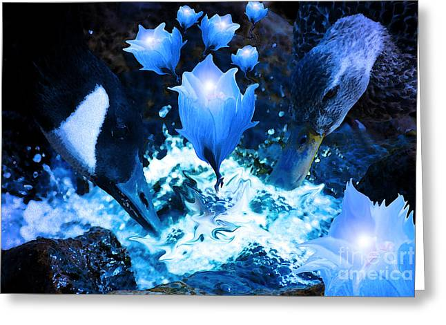 Magic Water Flowers  Greeting Card by Cathy  Beharriell