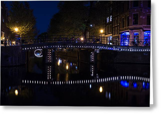 Magical Amsterdam Night - Blue White And Purple Lights Symmetry Greeting Card