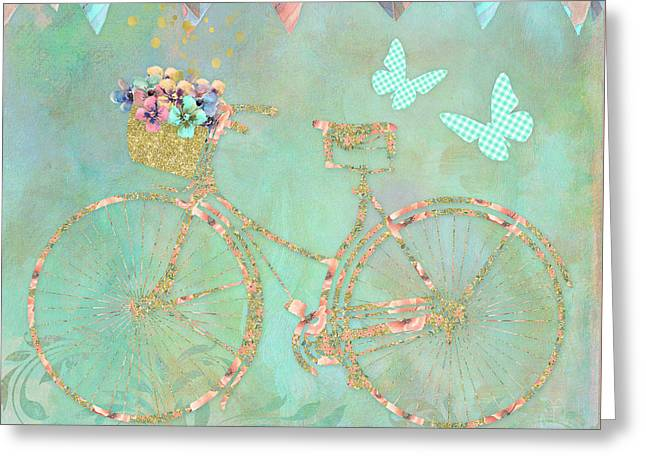 Magical Bicycle Tour Enchanted Happy Art Greeting Card by Tina Lavoie