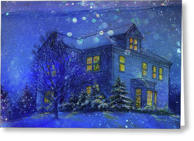 Magical Blue Nocturne Home Sweet Home Greeting Card