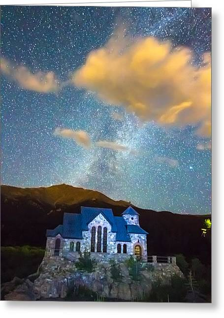 Magical Chapel On The Rock Milky Way Sky Greeting Card