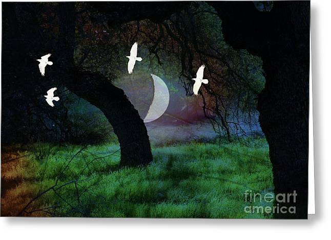 Magical Forest Night Greeting Card by Robert Ball