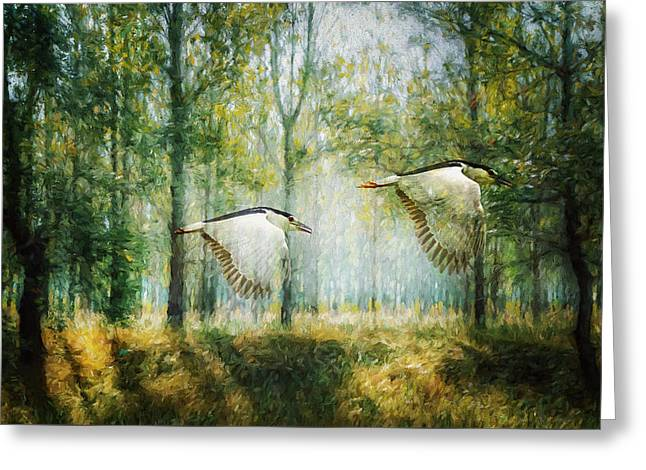 Magical Forests Impressionism Greeting Card by Georgiana Romanovna