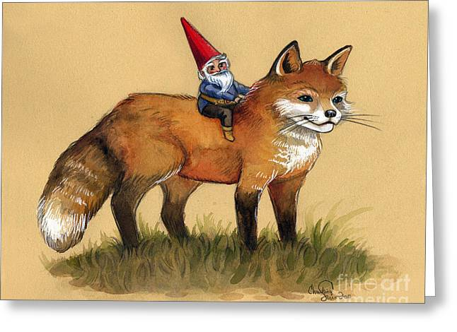 Magical Fox And Gnome Greeting Card by Christina Siravo