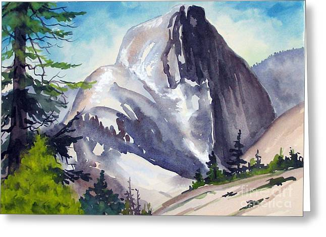 Greeting Card featuring the painting Magical Half Dome by Pat Crowther