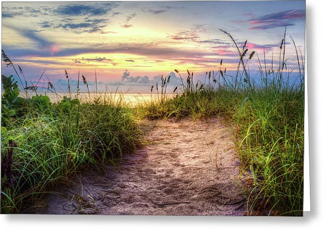Greeting Card featuring the photograph Magical Light In The Dunes by Debra and Dave Vanderlaan