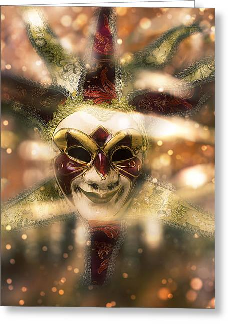 Magical Madi Gras Mask Greeting Card by Garry Gay