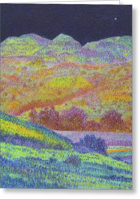 Greeting Card featuring the painting Magical Midnight Grasslands by Cris Fulton