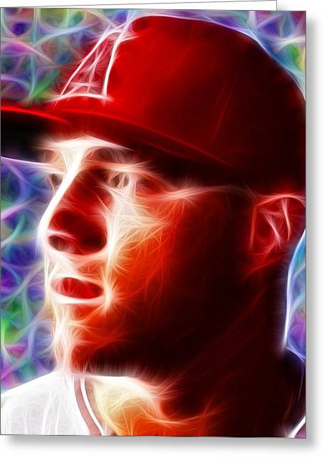 Magical Mike Trout Greeting Card by Paul Van Scott