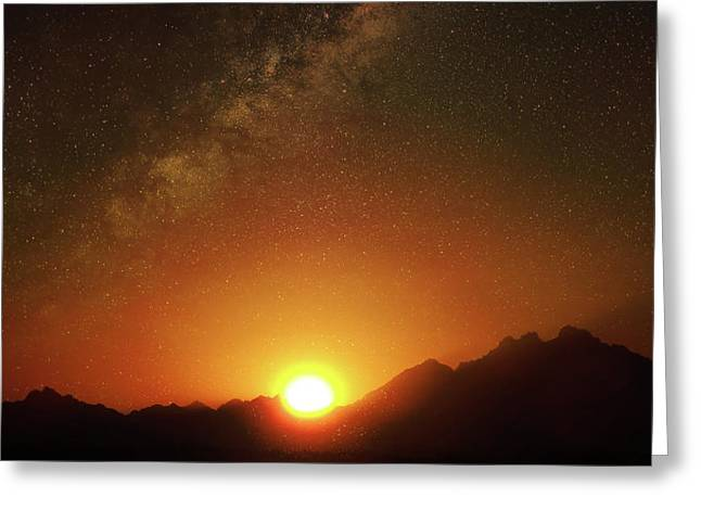 Magical Milkyway Above The African Mountains Greeting Card