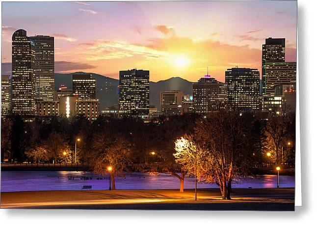 Magical Mountain Sunset - Denver Colorado Downtown Skyline Greeting Card by Gregory Ballos