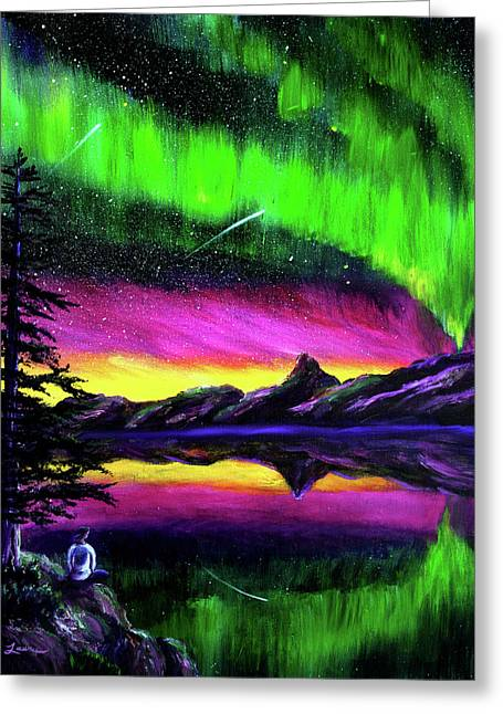 Magical Night Meditation Greeting Card by Laura Iverson