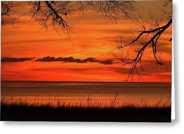 Magical Orange Sunset Sky Greeting Card