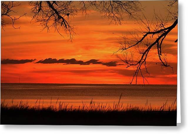 Magical Orange Sunset Sky Greeting Card