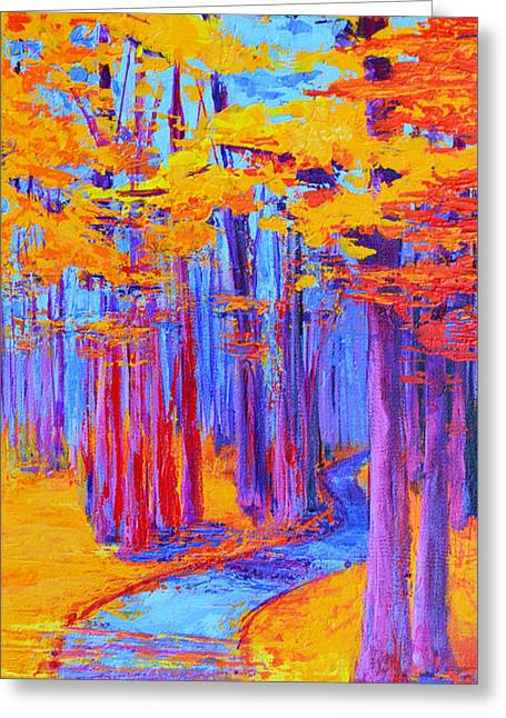 Greeting Card featuring the painting Magical Path - Enchanted Forest Collection - Modern Impressionist Landscape Art - Palette Knife Work by Patricia Awapara