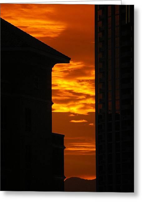 Magical Sunset Greeting Card by Paula Strahan