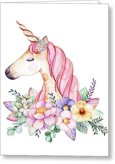 Magical Watercolor Unicorn Greeting Card