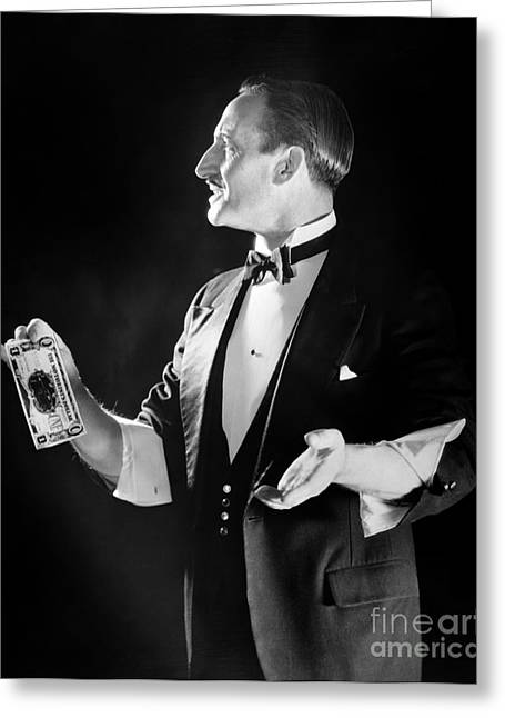 Magician With Sleeves Rolled Up, C.1920s Greeting Card