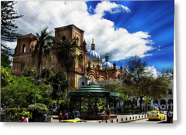 Greeting Card featuring the photograph Magnificent Center Of Cuenca, Ecuador IIi by Al Bourassa