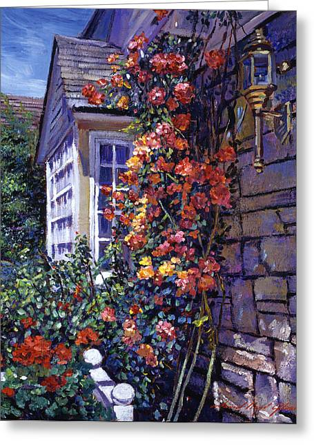 Magnificent Climbing Roses Greeting Card by David Lloyd Glover