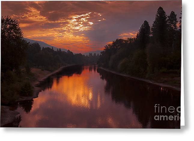 Magnificent Clouds Over Rogue River Oregon At Sunset  Greeting Card