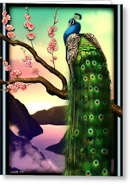 Magnificent Peacock On Plum Tree In Blossom Greeting Card