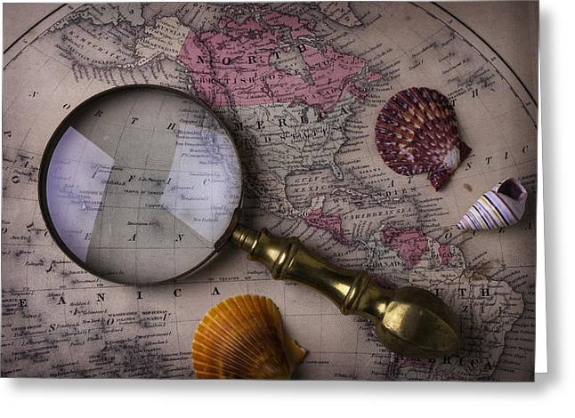 Magnifying Glass And Shells Greeting Card