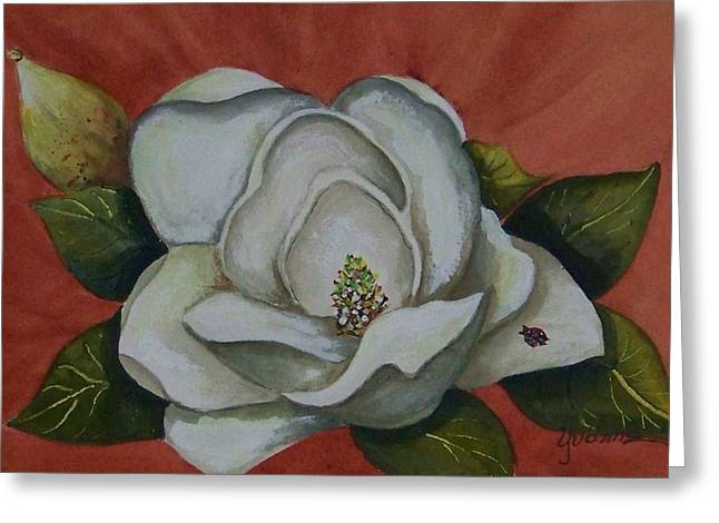 Magnolia Bloom With Ladybug Greeting Card by Yvonne Kinney