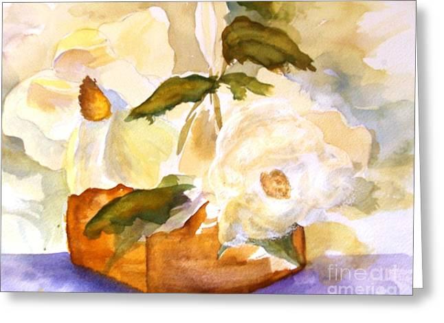Magnolia Blossoms Greeting Card by Sandi Stonebraker