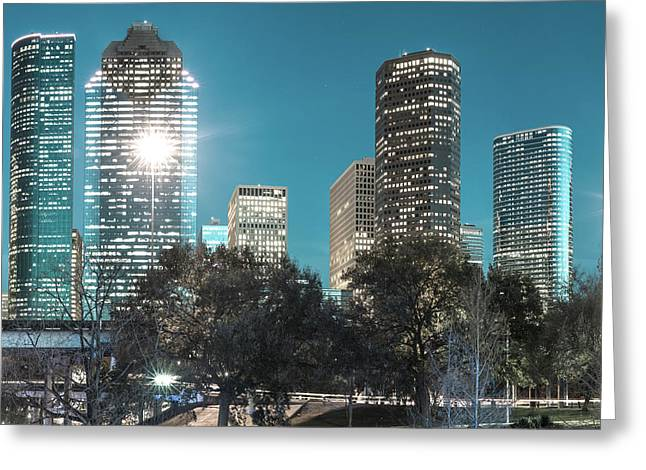Magnolia City In Blues - Houston Texas Skyline Greeting Card