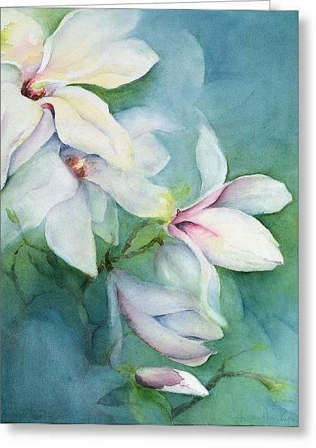 Blue Petals Greeting Cards - Magnolia Dedudata Greeting Card by Karen Armitage