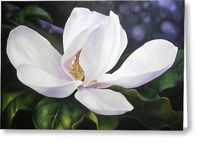Greeting Card featuring the painting Magnolia Flower by Chris Hobel