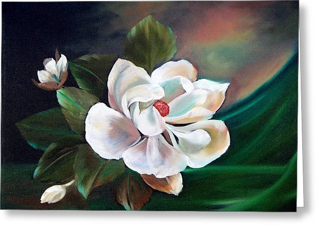 Greeting Card featuring the painting Magnolia by Joni McPherson