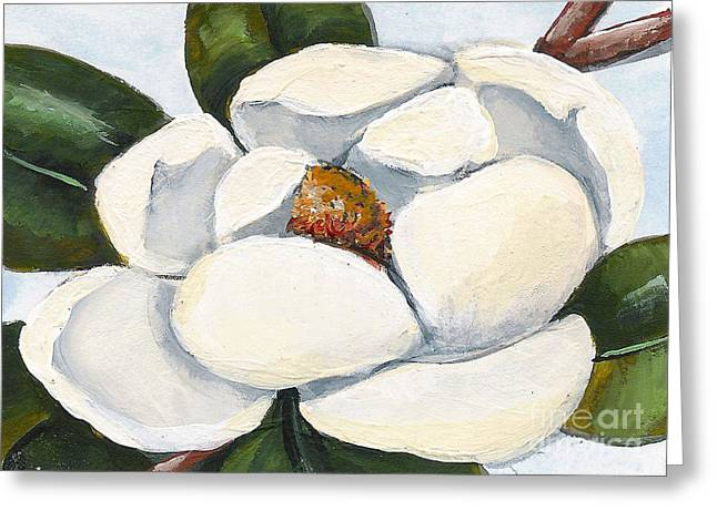 Magnolia On Blue Greeting Card by Elaine Hodges