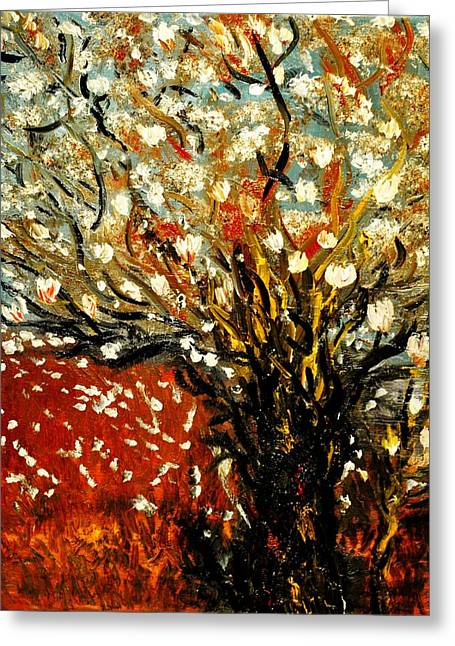 Greeting Card featuring the painting Magnolia Tree by Evelina Popilian