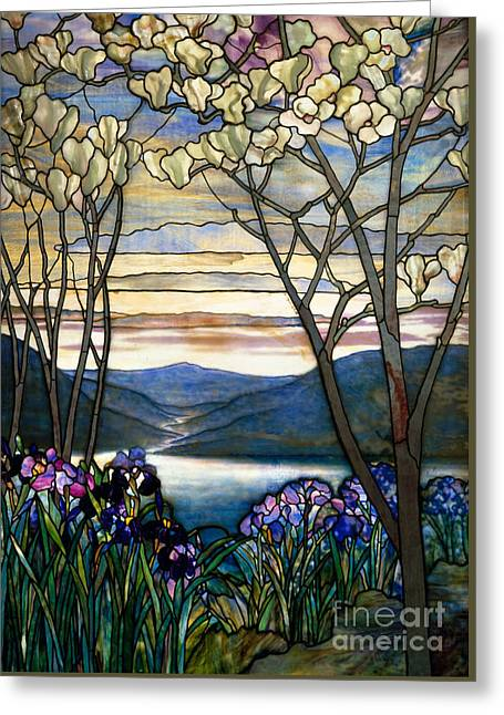 Magnolias And Irises Greeting Card by Louis Comfort Tiffany