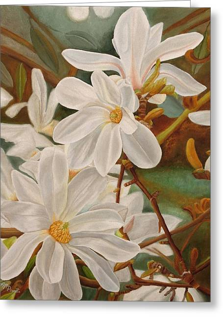 Greeting Card featuring the painting Magnolias by Angeles M Pomata