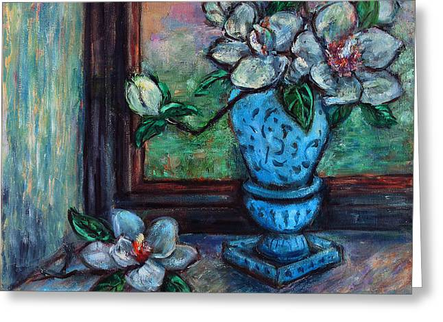 Greeting Card featuring the painting Magnolias In A Blue Vase By The Window by Xueling Zou