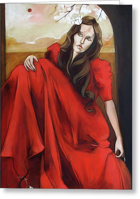 Magnolia's Red Dress Greeting Card