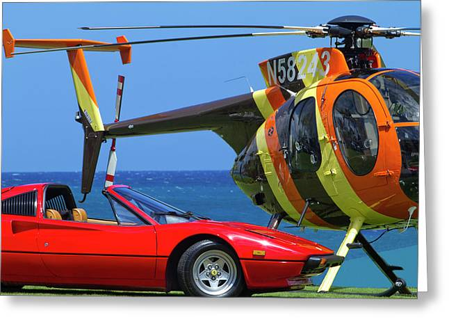 Magnum Helicopter And Ferrari Greeting Card