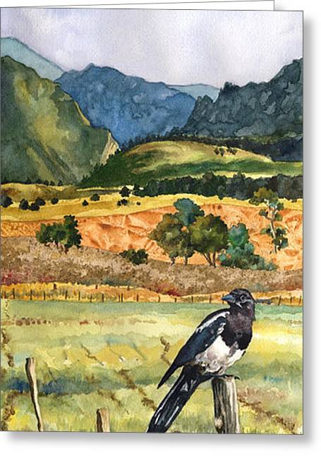 Magpie Greeting Card by Anne Gifford