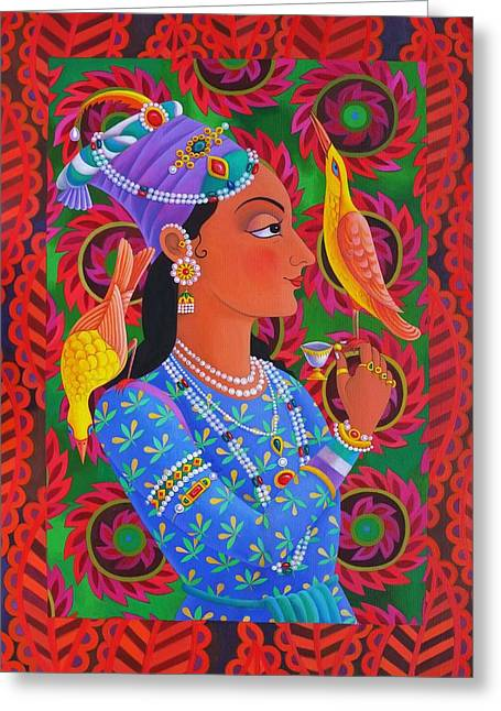 Maharani With Two Birds Greeting Card by Jane Tattersfield